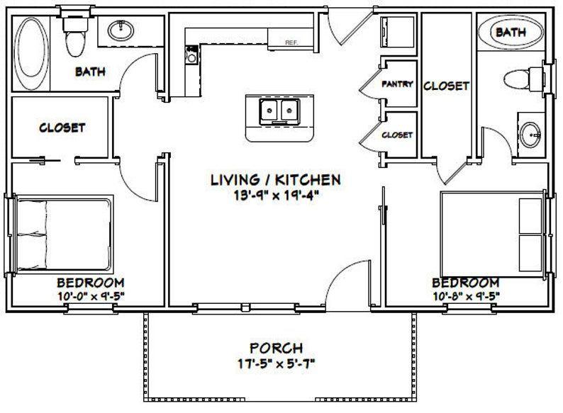 36x20 House 2Bedroom 2Bath 720 sq ft PDF Floor Plan
