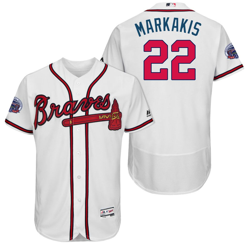 2017 All Star Patch 22 Nick Markakis Atlanta Braves White Flex Base Jersey Atlanta Braves Atlanta Braves Jersey Braves Jersey
