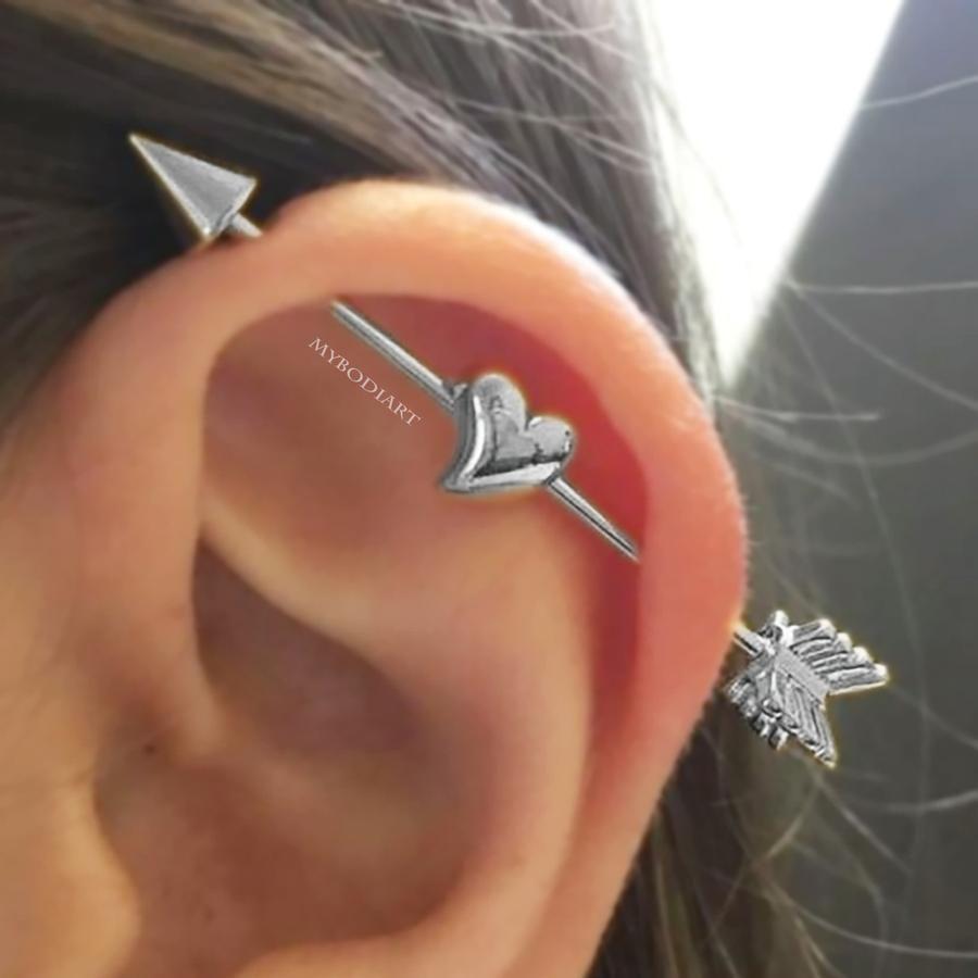 Qupid Heart Arrow Industrial Barbell Piercing Ideias Para