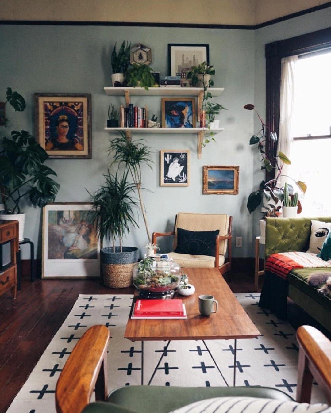 Wtvmaddy Room Roomdecor Design Eclectic Plants Livingroom Rugs Carpet Art Artwork I Eclectic Living Room Living Room Designs Rustic Living Room Living room ideas eclectic