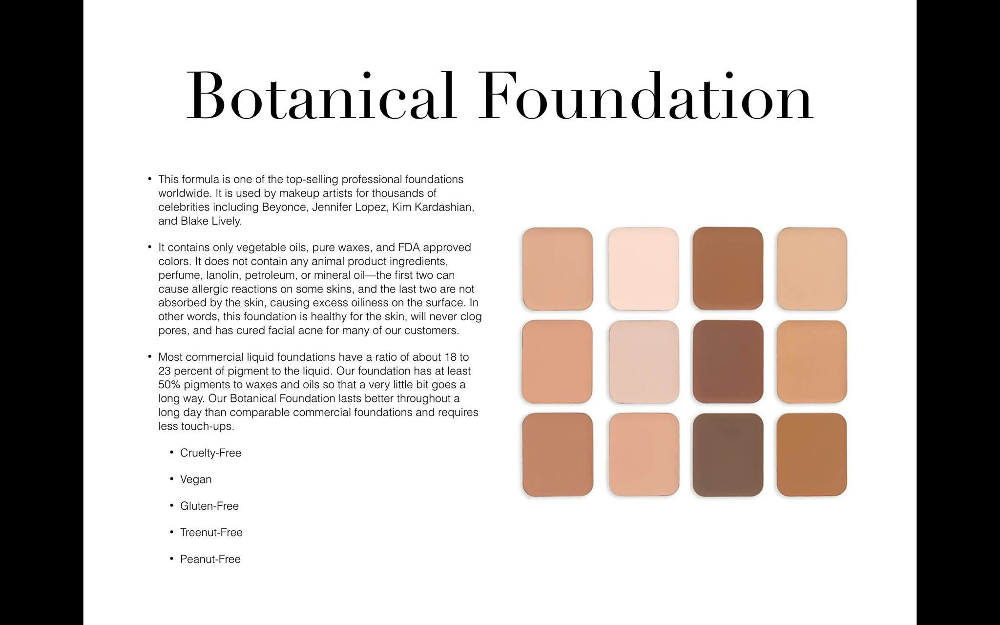 Botanical foundation. Wax based Mineral and oil free Sits