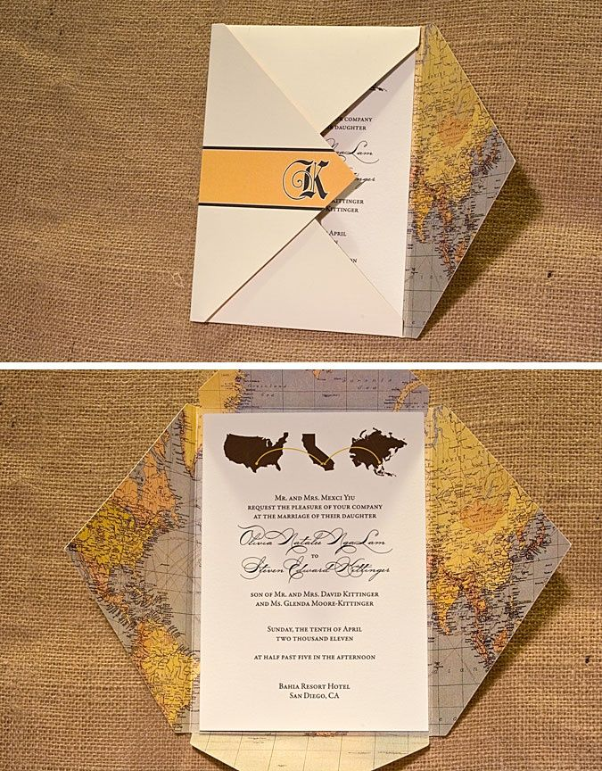 Travel Theme Wedding Invitation with Vintage Map Enclosure by ...