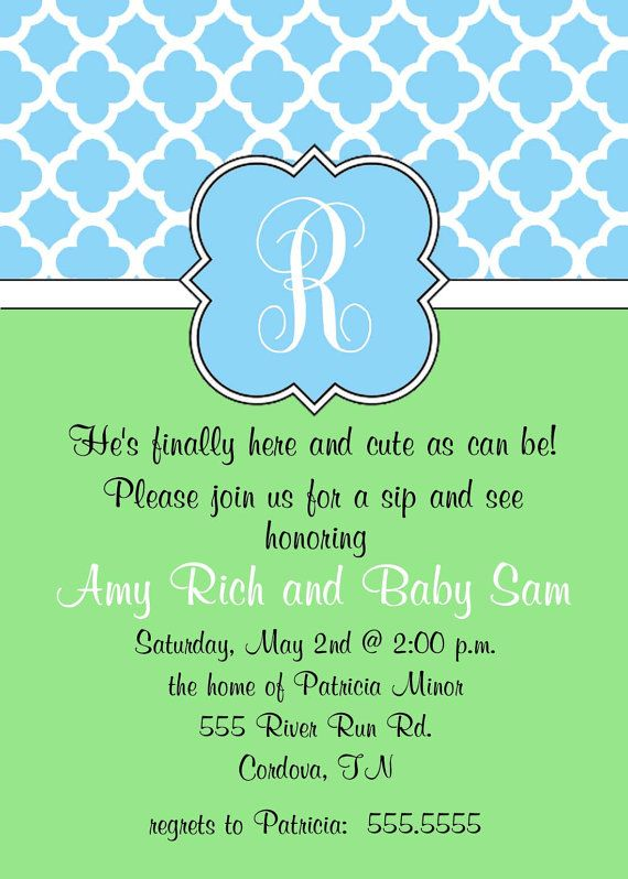 Cute Wording For A Sip And See Printable Baby Shower