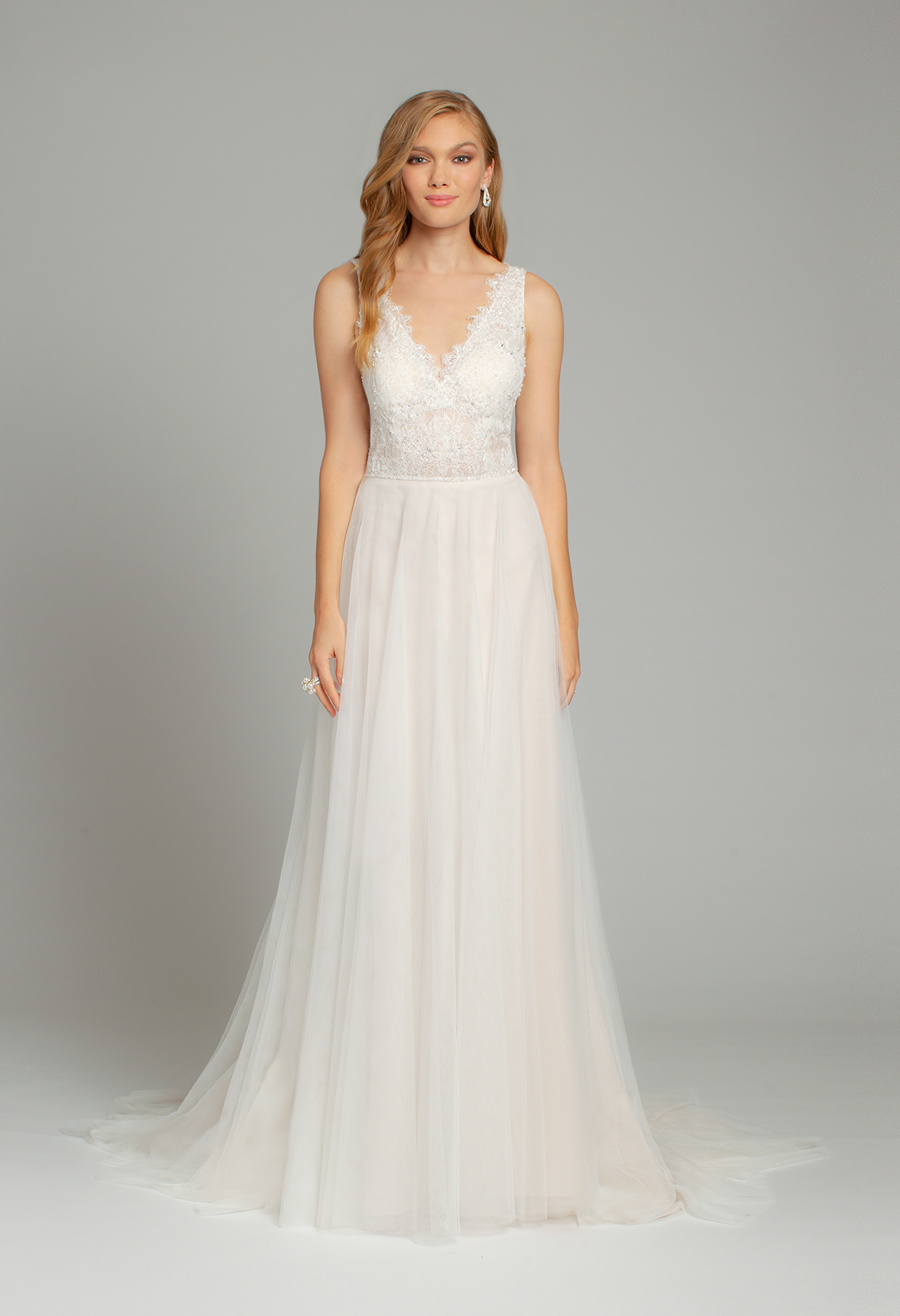 Wedding dress beaded back  Crystal Beaded Lace Plunge Tulle Dress  NEW ARRIVALS  Pinterest