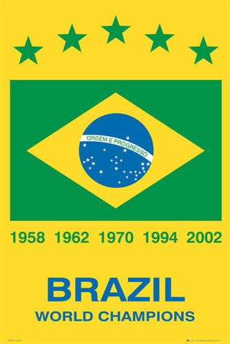 Brazil Brasil 5 Time Fifa World Cup Champions Soccer Football Poster Soccer Poster World Soccer Shop World Cup Champions