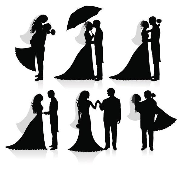 Wedding silhouette vector material to draw pinterest arte wedding silhouette vector material junglespirit Gallery