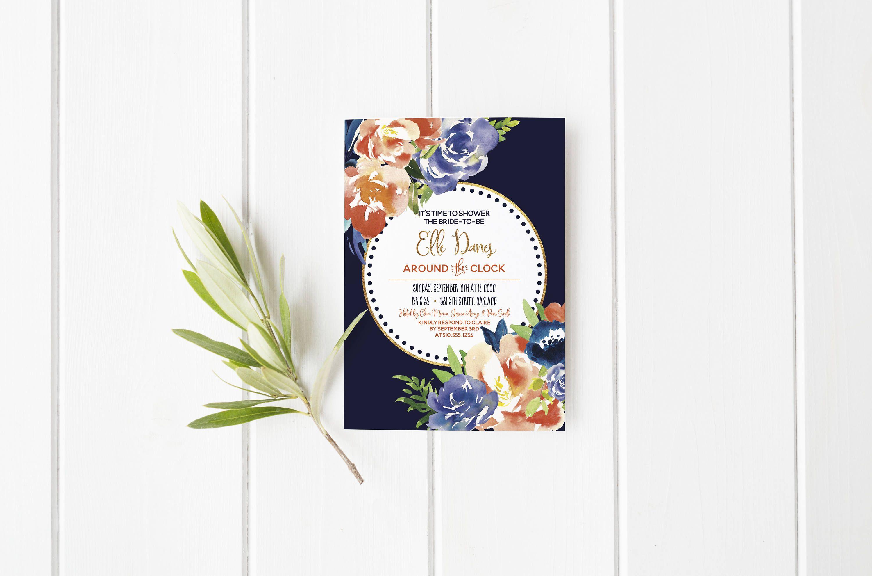 Around the Clock Bridal Shower Invitation- Baby Shower- Flowers ...