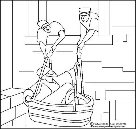 Paul Escapes In A Basket Coloring Page sketch template