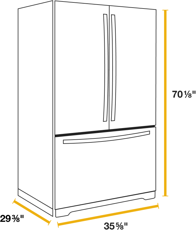 Refrigerator Sizes The Guide To Measuring For Fit Whirlpool In 2020 Refrigerator Sizes Fridge Sizes Top Furniture Stores