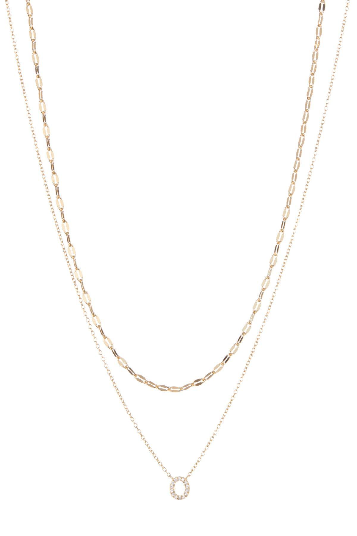 Double layer cz initial pendant necklace initial pendant double layer cz initial pendant necklace mozeypictures Images