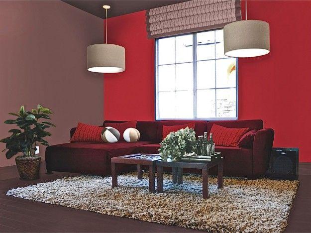 Colori giusti per imbiancare la casa - Salotto con parete rossa | Psg