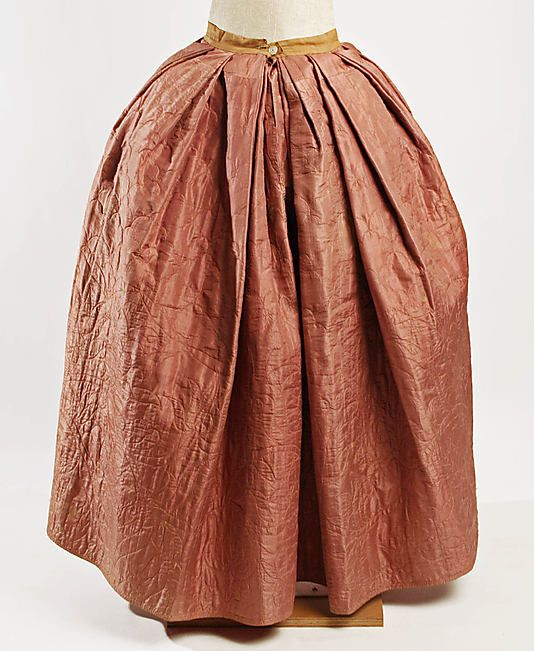 Petticoat    Date:      mid-18th century  Culture:      American  Medium:      silk, linen  Dimensions:      Length: 39 1/4 in. (99.7 cm)  Credit Line:      Purchase, Irene Lewisohn Bequest, 1977  Accession Number:      1977.91.5