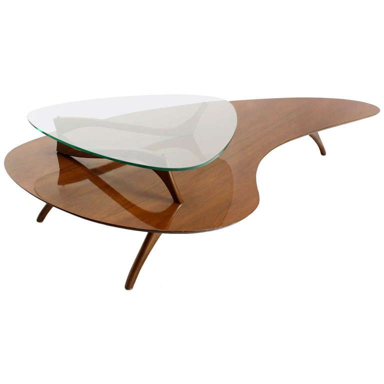 d98874b53215 Mid Century Modern Kidney Organic Shape Walnut Coffee Table w  Glass Top