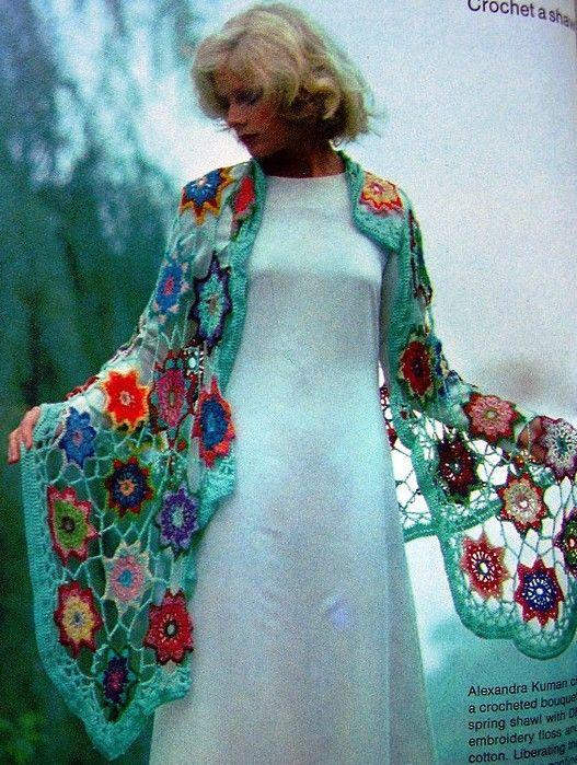 """What a beautiful """"Crochet Motif Shawl""""!"""