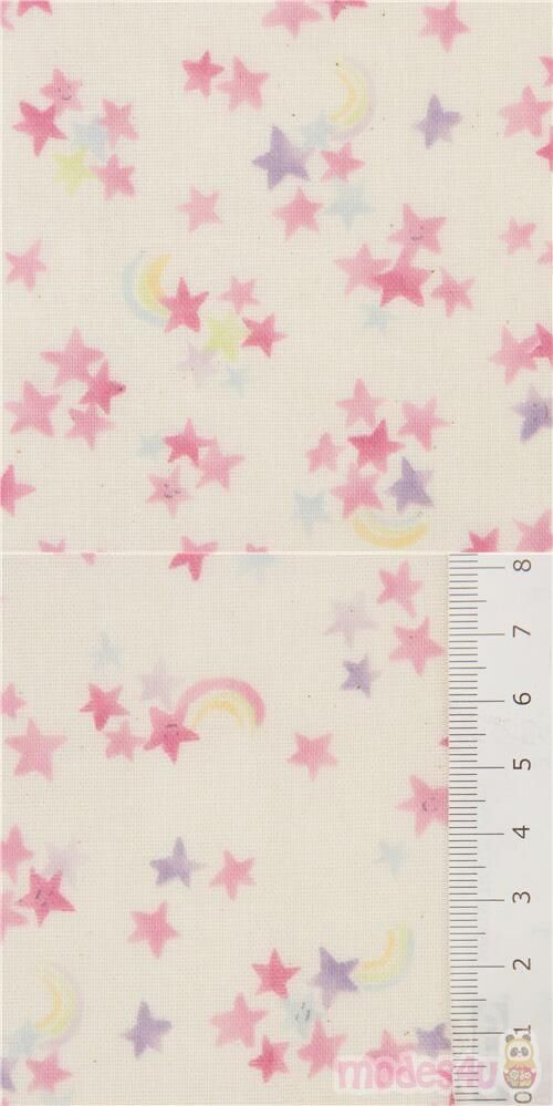 light cream double-gauze fabric with stars in pink, purple, blue, with rainbows, Material: 100% cotton, Fabric Type: light delicate double-layered gauze fabric #DoubleGauze #Stars #OuterSpace #JapaneseFabrics