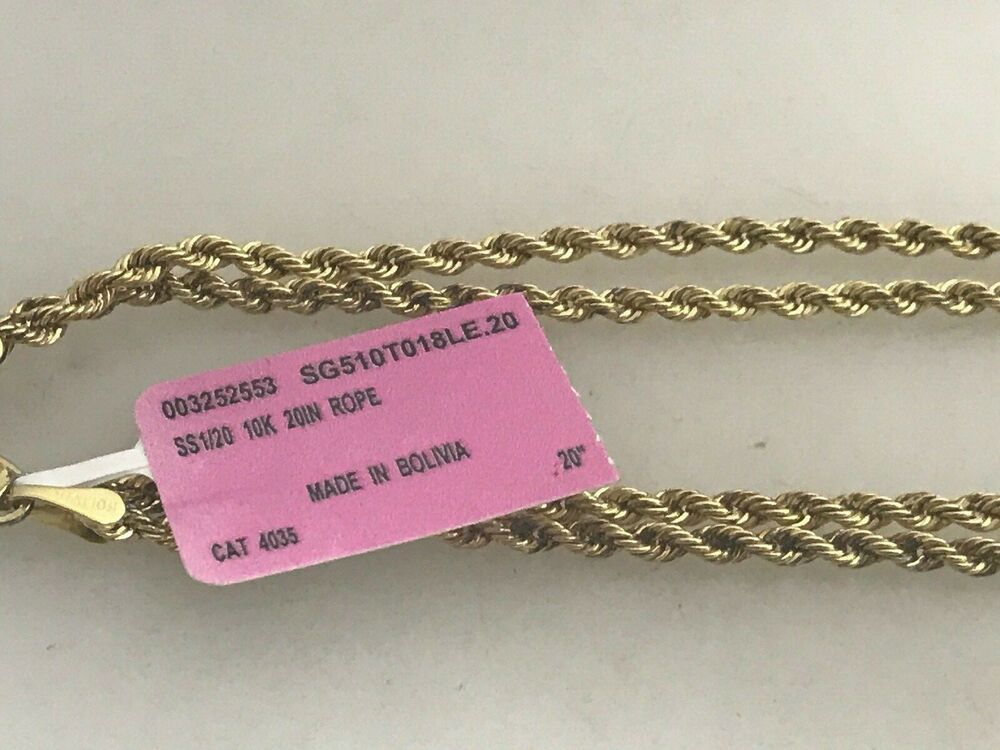 Sterling Silver 1 20 10k Yellow Gold Rope Chain 20 Necklace 2 5mm 925 Rl Chain Gold Rope Chains Yellow Gold Necklaces Rope Chain