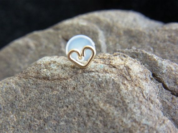16 gauge 14k gold filled Heart bio flexible Tragus by PiercingRoom, $12.95