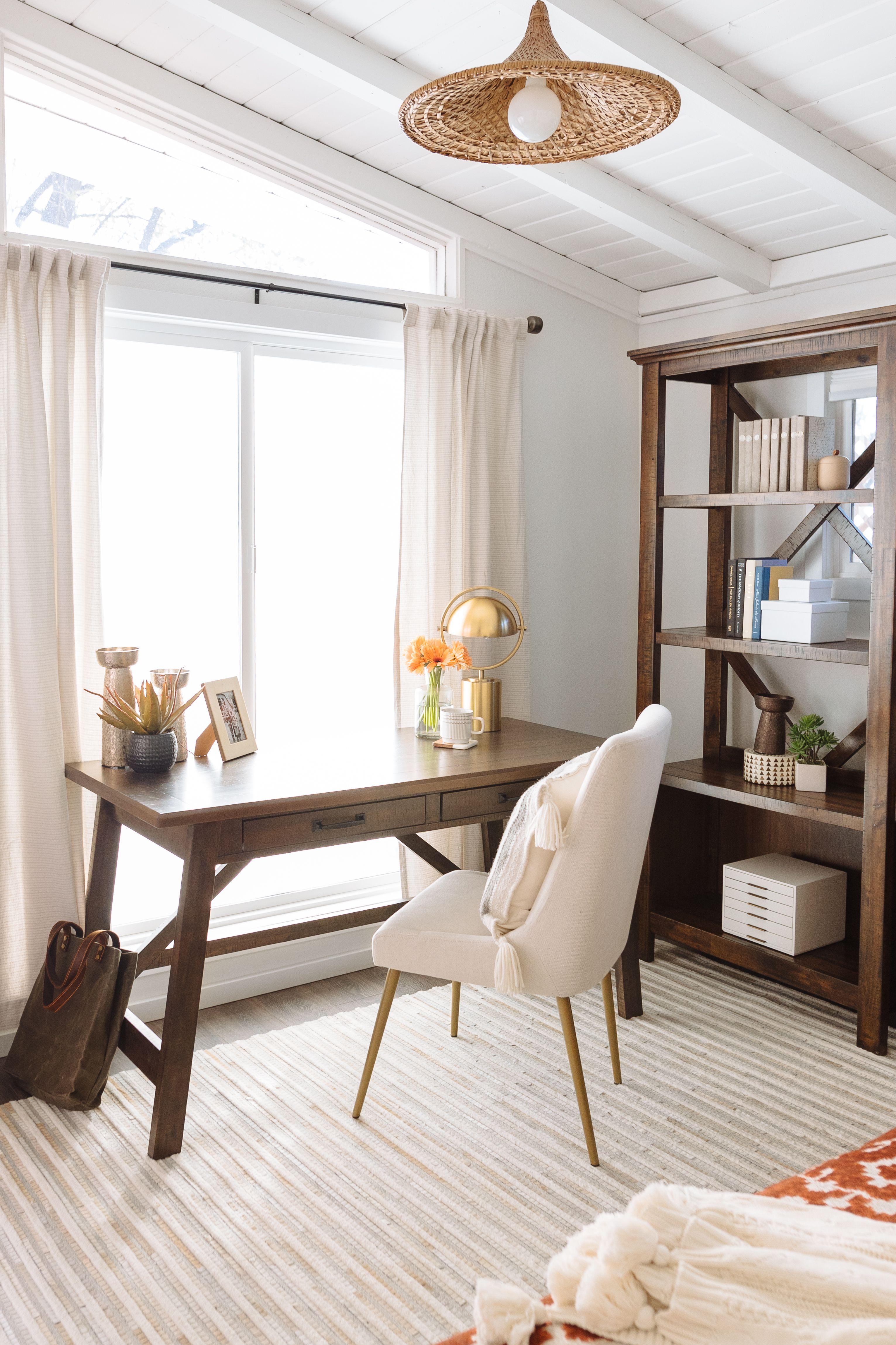 Rustic Farmhouse Office Desk in Medium Gray in 2020 Home
