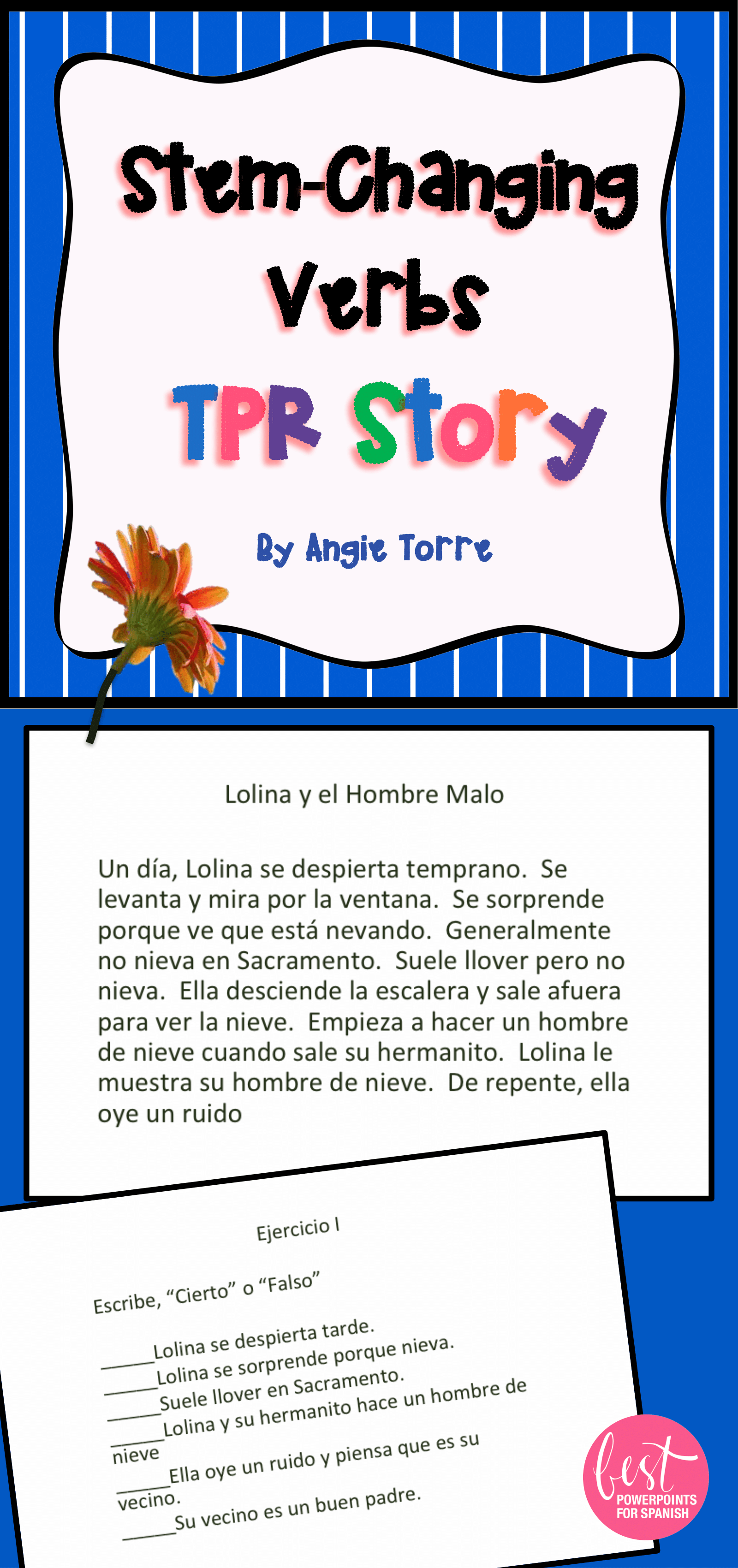 Spanish Stem Changing Verbs Tpr Story