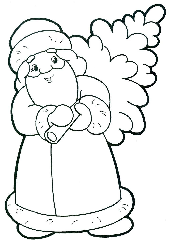 several cute Santa coloring pages | Christmas tree ...