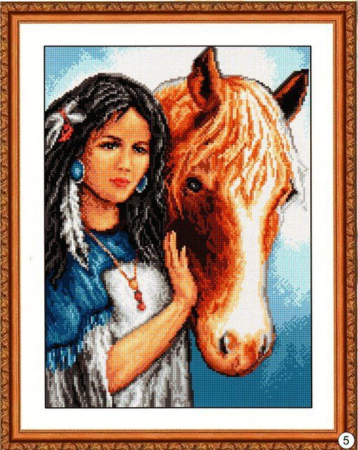 0 point de croix indienne et cheval - cross stitch native american indian girl and her horse