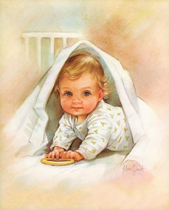 Утро, открытки с нарисованными детьми
