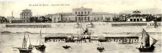 Rimini 1900 circa Veduto dello Stabilimento da mare