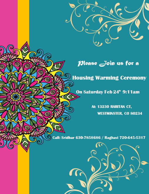 invitation house warming ceremony