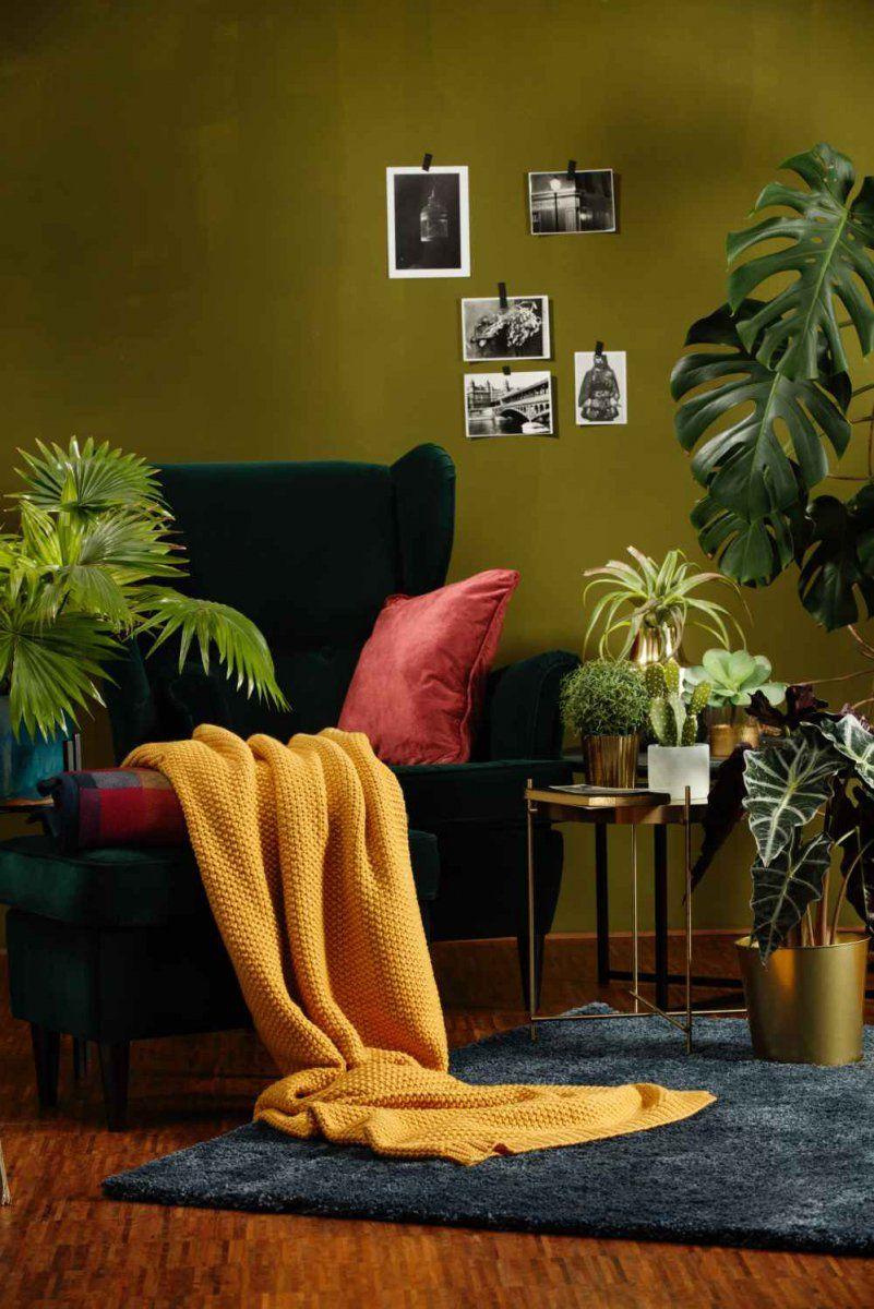Pled Dziergany Biederlack Loop Curry Niemajakwdomu Green Walls Living Room Living Room Green Olive Green Rooms