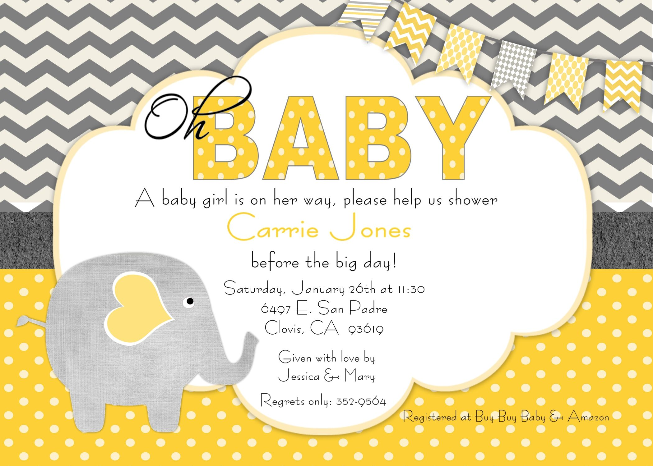 yellow and grey baby shower decorations chevron it's a girl banner, Baby shower invitations