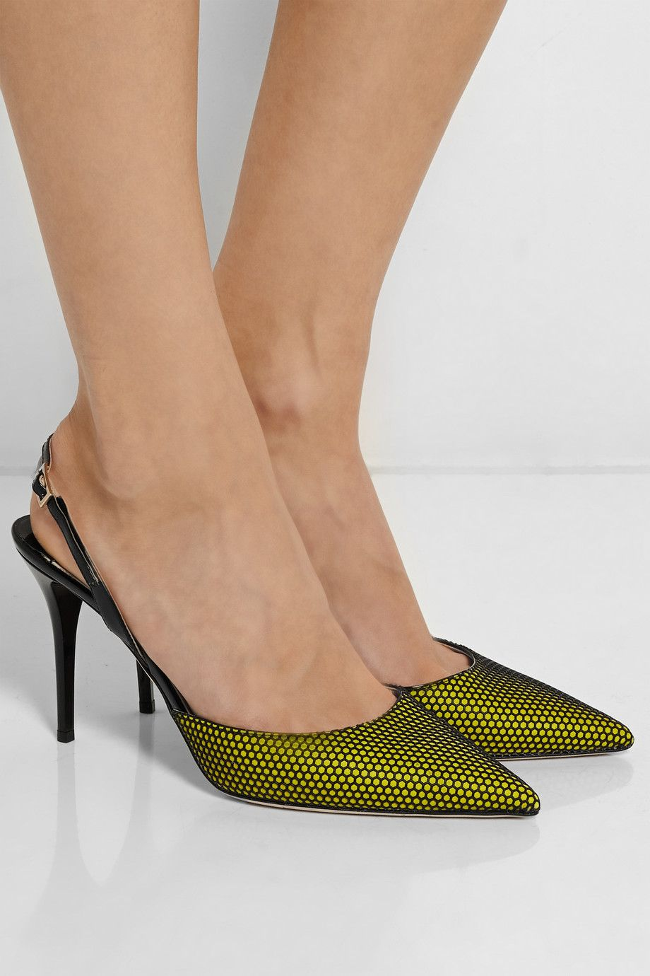 5066d7a377fa Jimmy ChooTilly honeycomb-mesh and patent-leather pumpsfront
