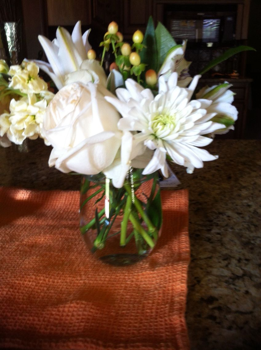 Simple White Flower Arrangement For Bridal Brunch At Home Shown In