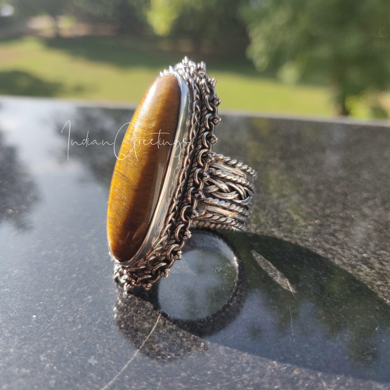 vintage Sterling 925 silver handmade ring with golden tiger eye Size 10 stamped Sterling