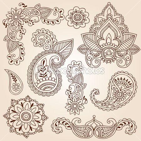 Henna Mehndi Paisley Flowers Doodle Vector Design Elements — Stock Vector © blue67 #8410127