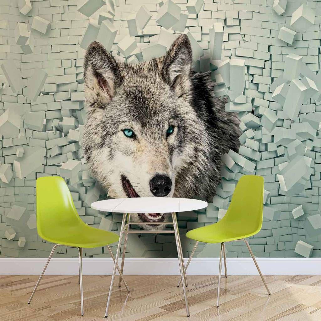 vlies poster foto fototapete tapete fototapeten wolf tier ziegel, Wohnzimmer dekoo