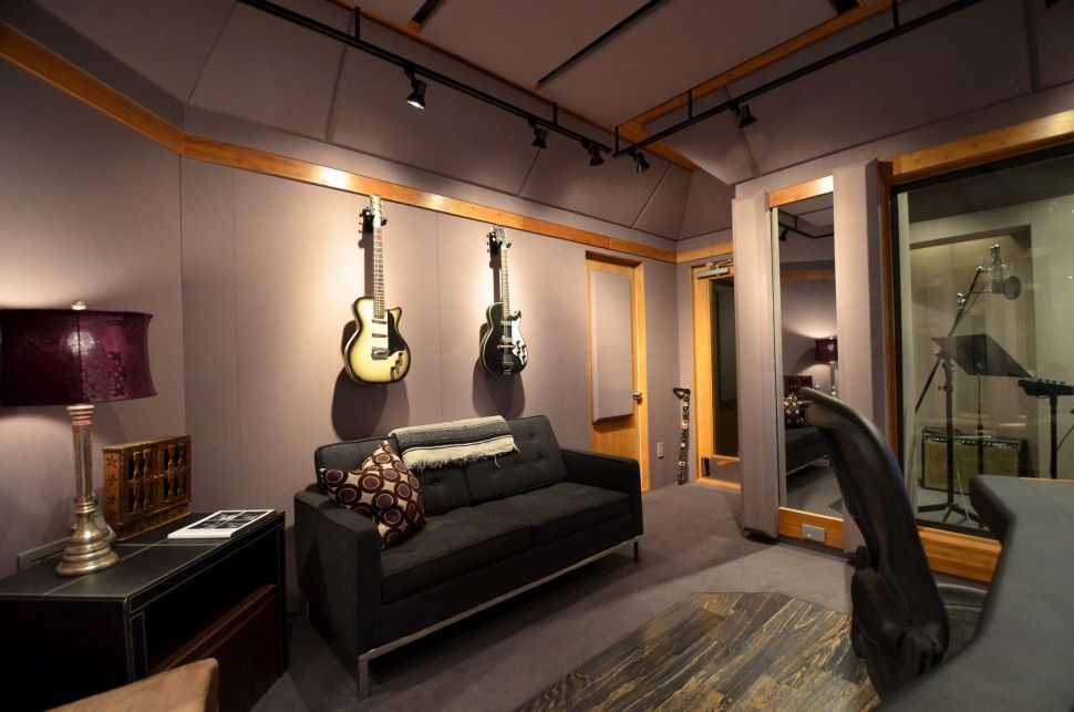 Interior Excellent Home Music Studio Design With Cozy Black Leather