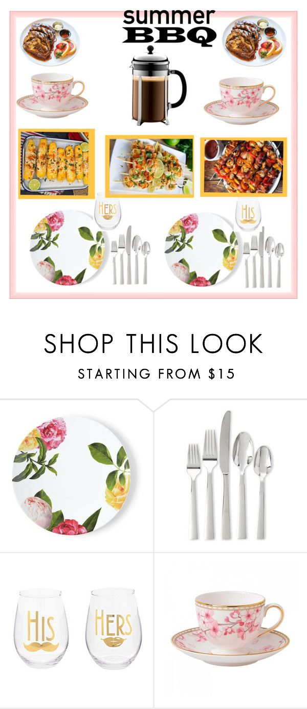 """""""#summerbbq"""" by lerolero988 ❤ liked on Polyvore featuring interior, interiors, interior design, home, home decor, interior decorating, Kate Spade, Oneida, Wedgwood and Bodum"""