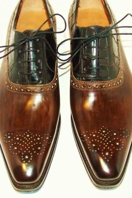 New Style Men Brogue Dark Brown Leather