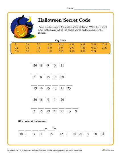 Halloween Secret Code Printable Activity Kids Worksheets Printables Word Puzzles For Kids Math Worksheets