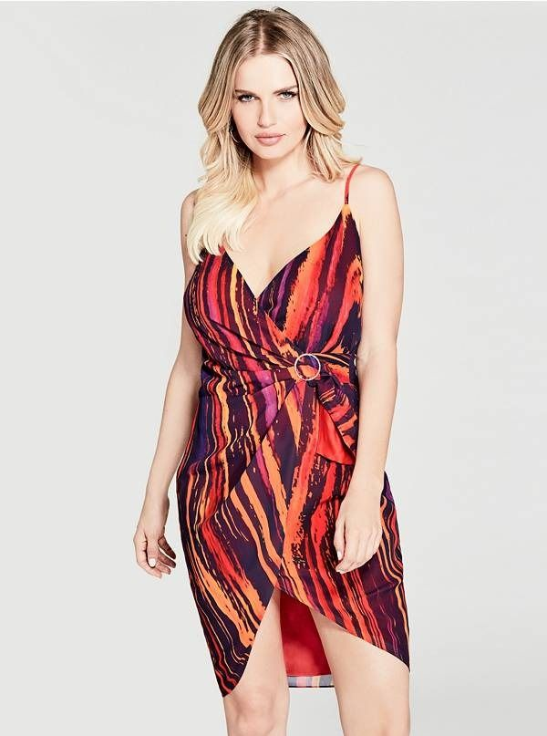 Vibrant Colors Pop On This Lustrous Wrap Front Dress With Adjustable Shoulder Straps A Paint S Bright Color Dresses Bright Patterned Dresses Heart Print Dress