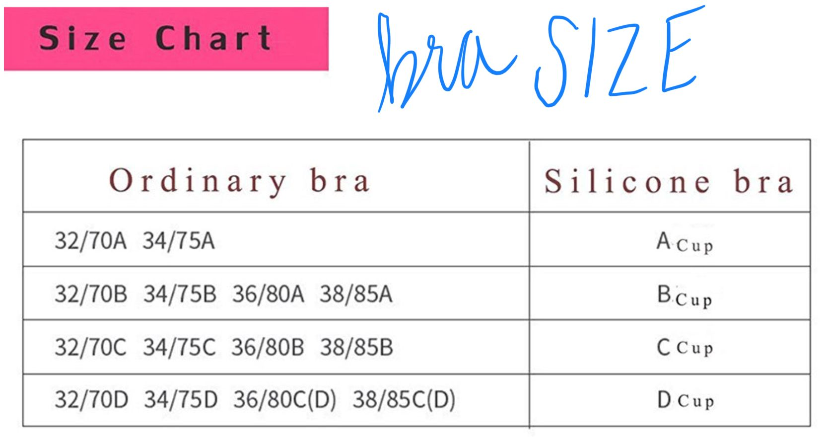 Silicon strapless stick bra size chart Bra size charts