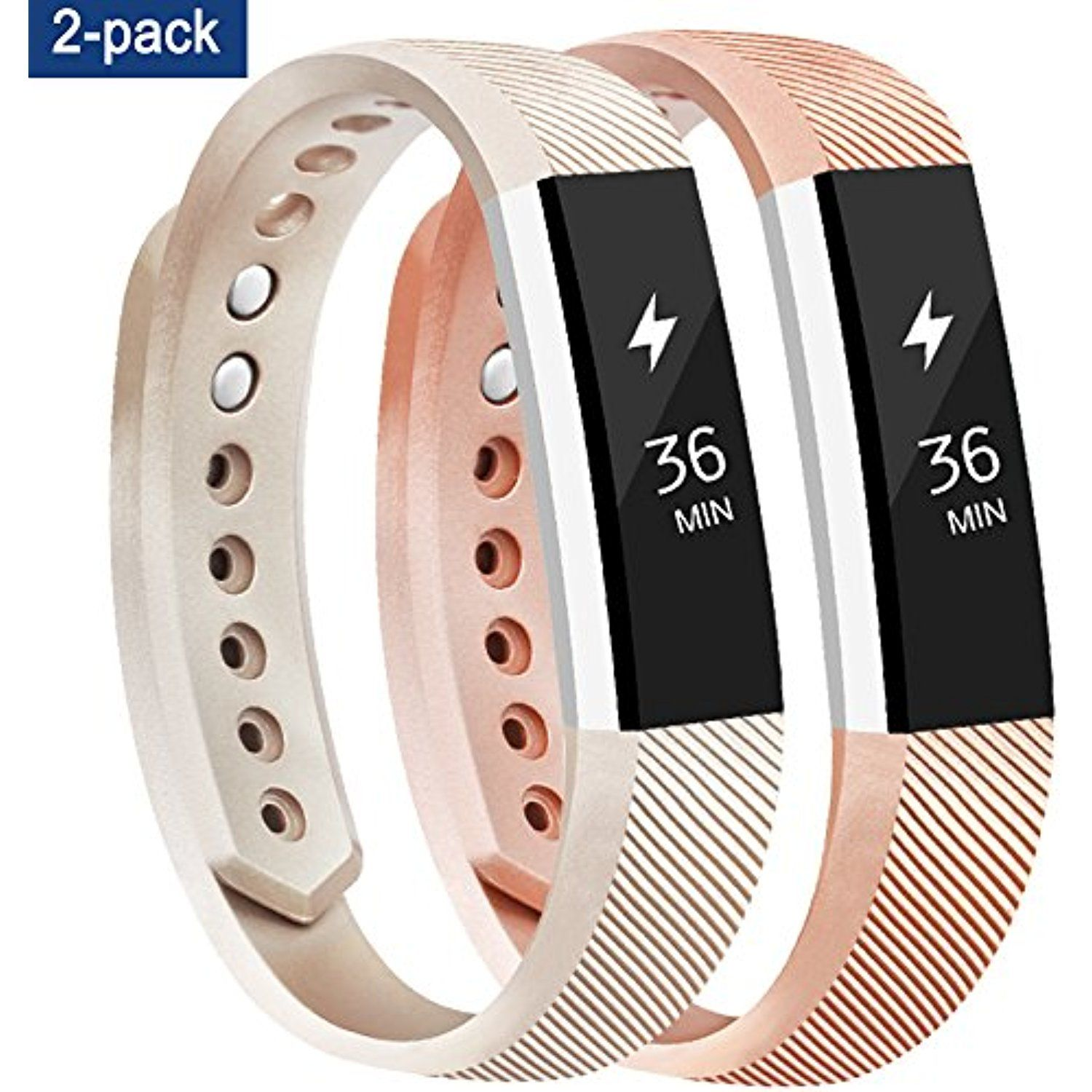 f3af12df Tobfit Fitbit Alta HR Bands for Women and Men, Newest Style - Smooth TPU  Rose Gold and Gold Classic Fitbit Alta Watch Accessories Wristbands with  Metal ...