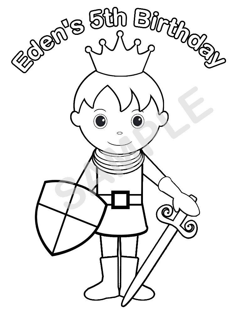 Birthday Coloring Pages Pdf : Personalized printable princess prince knight birthday