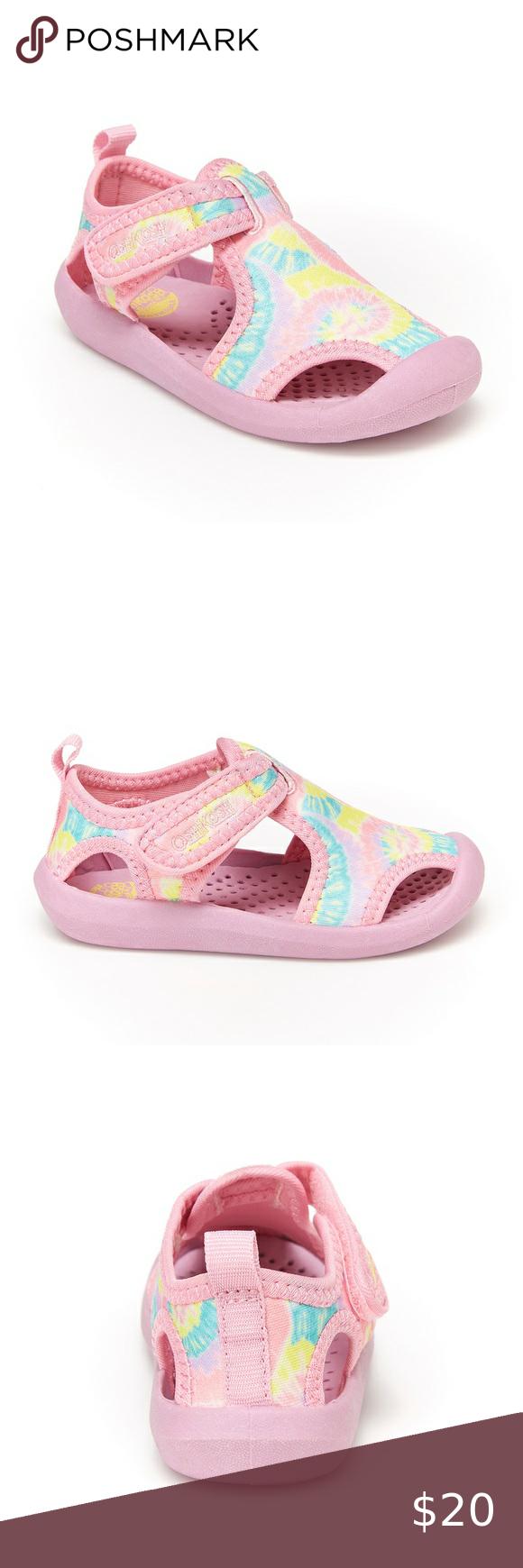 Oshkosh Bgosh Floral Cut Out Infant Toddler Sandals Gold Size 4 NEW Hook /& Loop