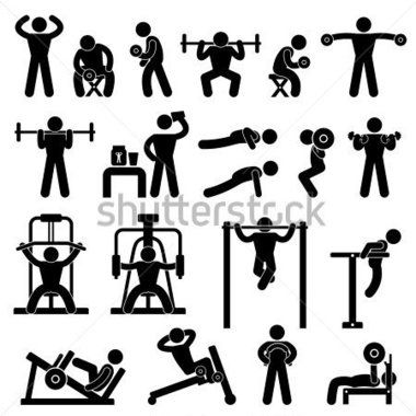 Fitness and Healthy Exercise Word and Icon Cloud stock