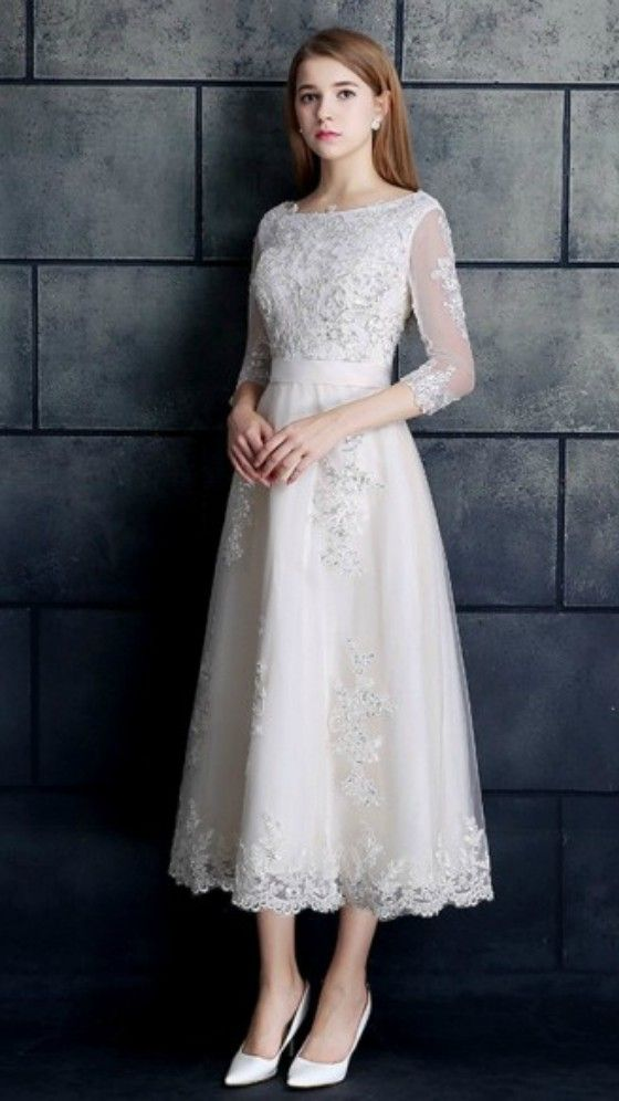 Vintage Tea Length Lace Tulle A Line White Wedding Dress 3 4