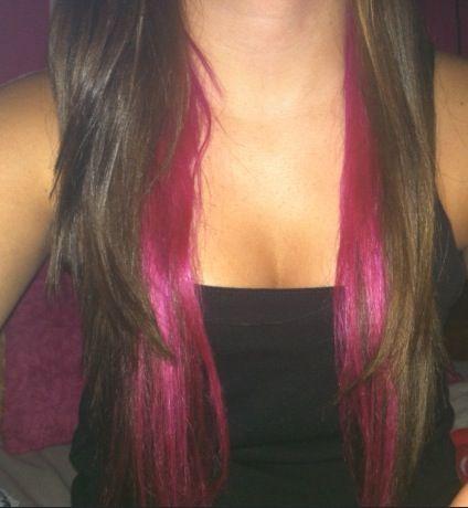 Brown Hair W Pink Underneath Mini Layers Brown Hair Underneath Pink Underneath Hair Hot Pink Hair