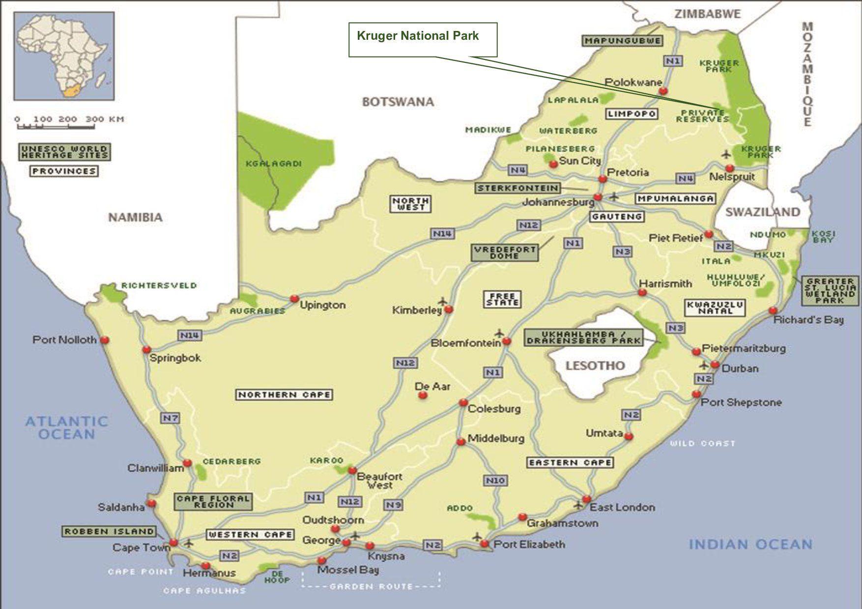 Kruger National Park Pilanesberg South Africa Map National Parks