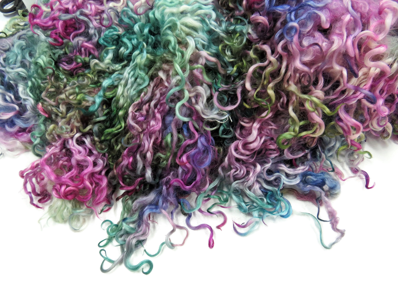 Yarn Making Doll Hair Needle Felt Weaving Hand Dyed Teeswater Wool Locks: Spinning Wool Curls Art Batts Textile Art Felting Fibre