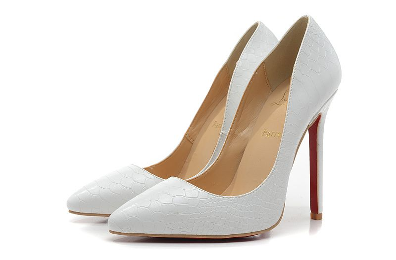 8b5c5876076 Christian Louboutin 12CM Heel White Fish skin Pumps   Shoes ...